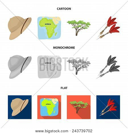 Cork Hat, Darts, Savannah Tree, Territory Map. African Safari Set Collection Icons In Cartoon, Flat,