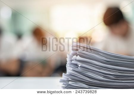 Exam Answer Sheet Or Application Paper Blurry View On Table In Examination Room With Blur Education