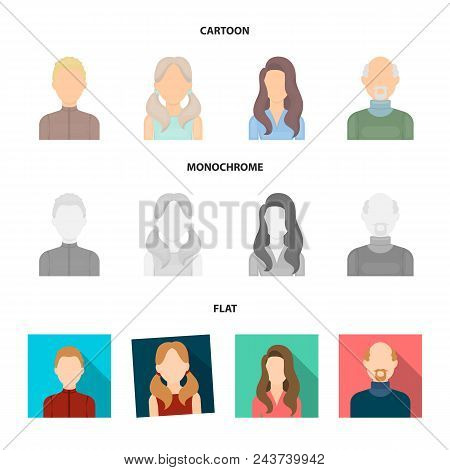 Boy Blond, Bald Man, Girl With Tails, Woman.avatar Set Collection Icons In Cartoon, Flat, Monochrome