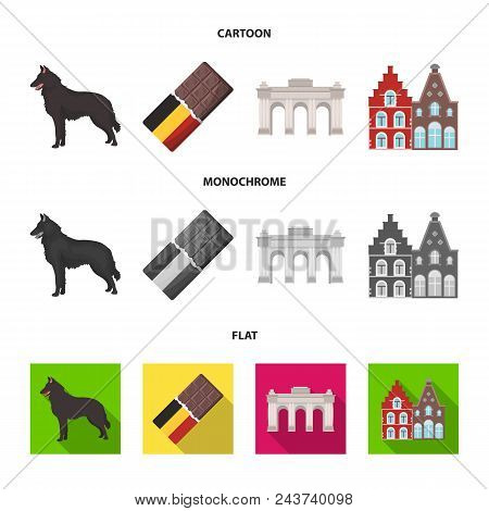 Chocolate, Cathedral And Other Symbols Of The Country.belgium Set Collection Icons In Cartoon, Flat,