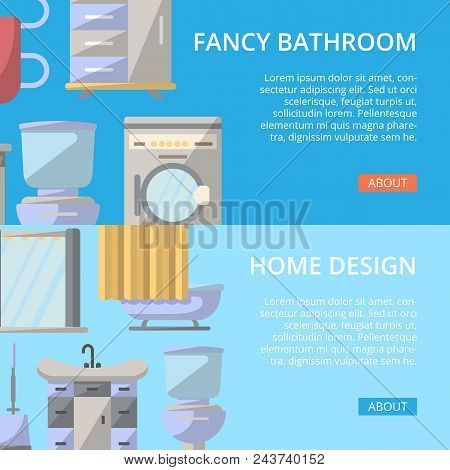 Fancy Bathroom Poster Set In Flat Style. Home Interior Design, Modern Apartment Decoration Banners.