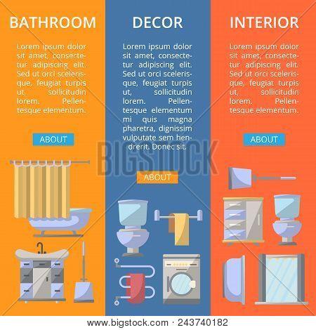 Bathroom Interior Decor Flyers Set. Home Renovation Design, Modern Apartment Decoration Banners. Was