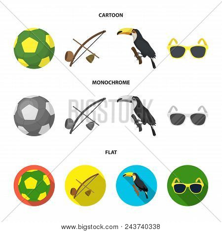 Brazil, Country, Ball, Football . Brazil Country Set Collection Icons In Cartoon, Flat, Monochrome S