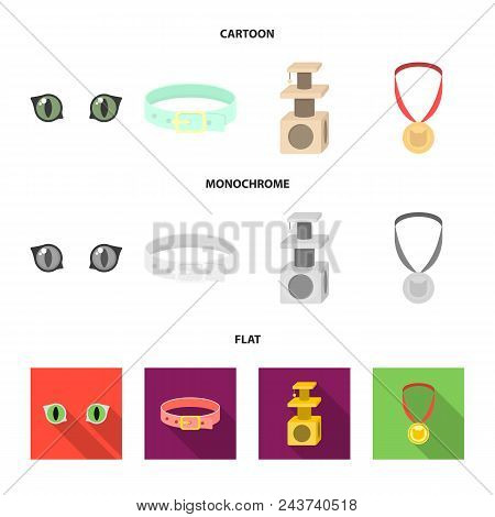 Cat Eyes, A Collar, A House For A Cat, A Medal On A Ribbon.cat Set Collection Icons In Cartoon, Flat