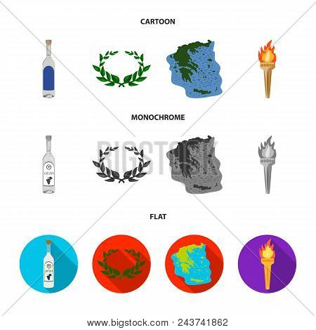 Greece, Country, Tradition, Landmark .greece Set Collection Icons In Cartoon, Flat, Monochrome Style