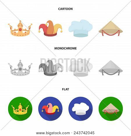 Crown, Jester Cap, Cook, Cone. Hats Set Collection Icons In Cartoon, Flat, Monochrome Style Vector S