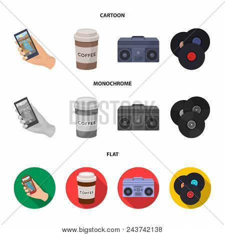 Hipster, Fashion, Style, Subculture .hipster Style Set Collection Icons In Cartoon, Flat, Monochrome