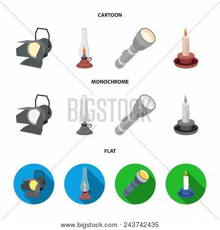 Searchlight, Kerosene Lamp, Candle, Flashlight.light Source Set Collection Icons In Cartoon, Flat, M