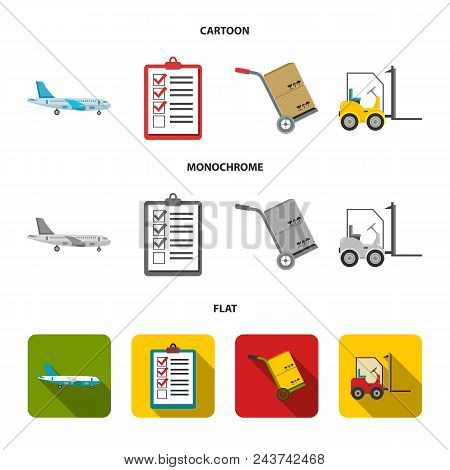 Cargo Plane, Cart For Transportation, Boxes, Forklift, Documents.logistic, Set Collection Icons In C
