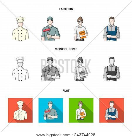 Cook, Painter, Teacher, Locksmith Mechanic.profession Set Collection Icons In Cartoon, Flat, Monochr