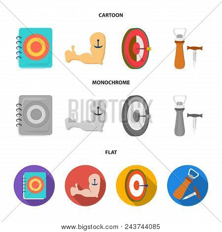 Menu, Armor With Tattoo, Darts, Corkscrew And Opener.pub Set Collection Icons In Cartoon, Flat, Mono