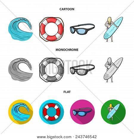 Oncoming Wave, Life Ring, Goggles, Girl Surfing. Surfing Set Collection Icons In Cartoon, Flat, Mono