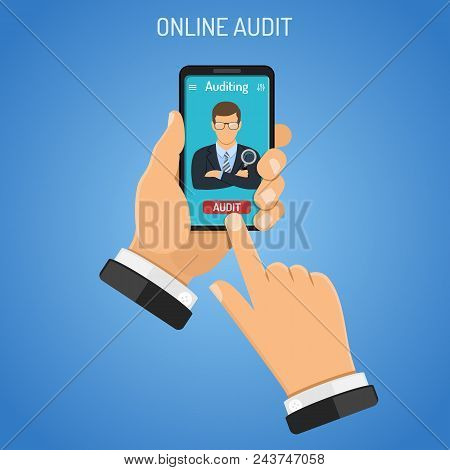 Online Auditing, Tax Process, Business Accounting Infographics. Businessman Holds Smartphone In Hand