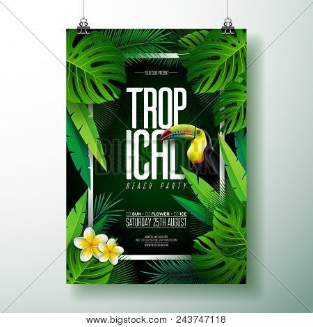 Vector Summer Tropical Beach Party Flyer Design With Toucan, Flower And Typographic Elements On Exot