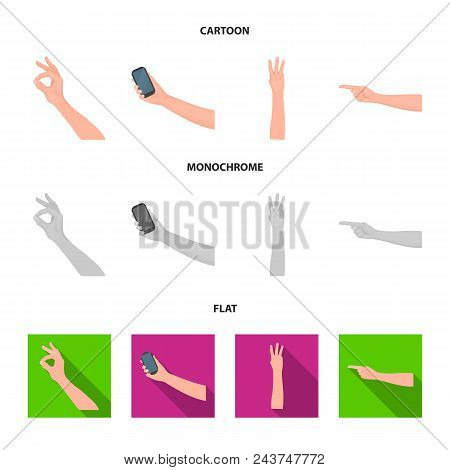 Sign Language Cartoon, Flat, Monochrome Icons In Set Collection For Design.emotional Part Of Communi