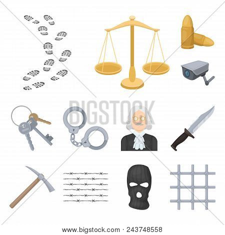 Prison And The Criminal Cartoon Icons In Set Collection For Design.prison And Attributes Vector Symb