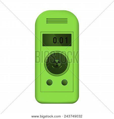 Radiation dosimeter. Counter Geiger. Measurement of radioactive dose. Vector illustration. Green equipment poster