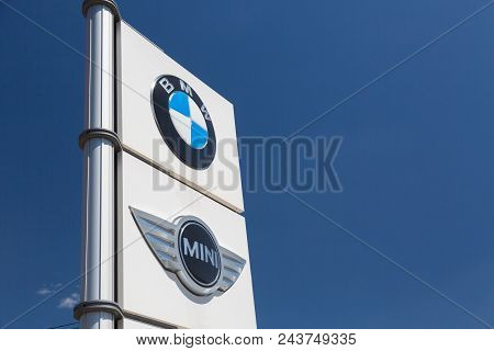 Moscow, Russia - May, 2018: Bmw Mini Cooper Group Car Manufacturer Signage. Bavarian Motor Works, Kn