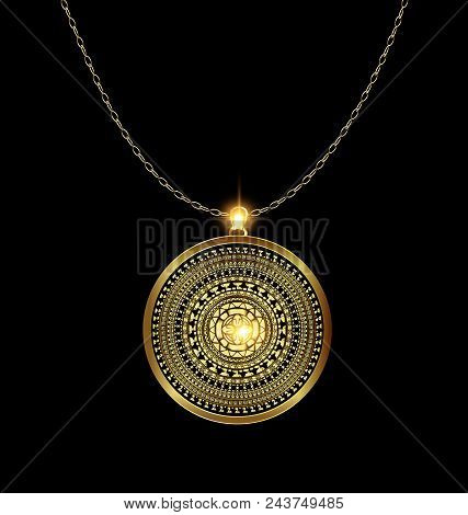 Dark Background With Golden Pendant Medal Image Of Circle Consisting Of Lines And Figures With Chain