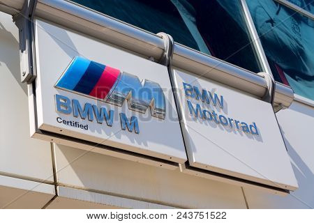 Moscow, Russia - May, 2018: Bmw, Bmw Motorrad And Bmw M Series Manufacturer Signage. Bavarian Motor