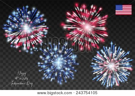 American Flag With Fireworks On Independence Day. Vector Illustration