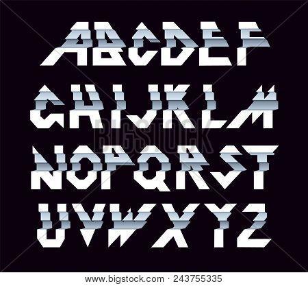 Paper Alphabet Vector Of Paper Folding. Ribbon Script Font. Vector Of Modern Stylized Paper Font. Al