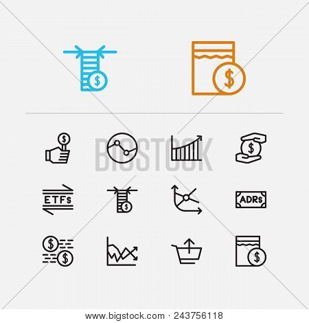 Financial Icons Set. Stock Sector And Financial Icons With Volatility, Sell And Moving Average. Set