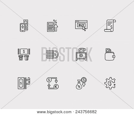 Banking Icons Set. Mobile Payment And Banking Icons With Ecommerce, Bank Atm And Bill Invoice. Set O