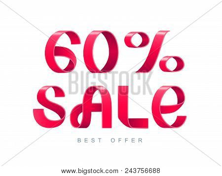 Vector Illustration. Red Ribbon Isolated On White Background. Sale 60 Percent Off. 60 Discount. Sale