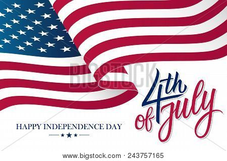 Happy 4th Of July United States Independence Day Celebrate Banner With Waving American National Flag