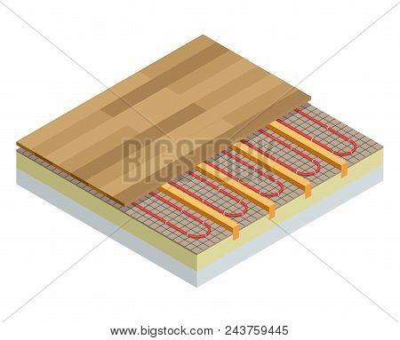 Isometric Layers Of Infrared Floor Heating System Under Laminate Floor Concept. Underfloor Heating V
