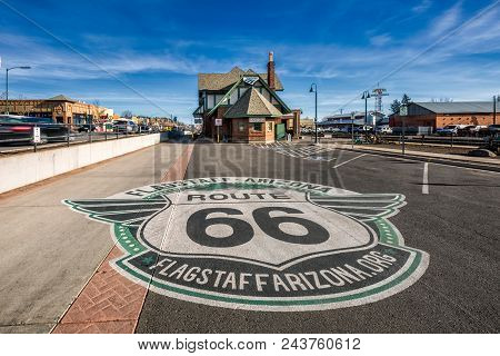 Flagstaff, Arizona, Usa - January 19, 2018: Historic Train Station In Flagstaff. It Is Located On Ro