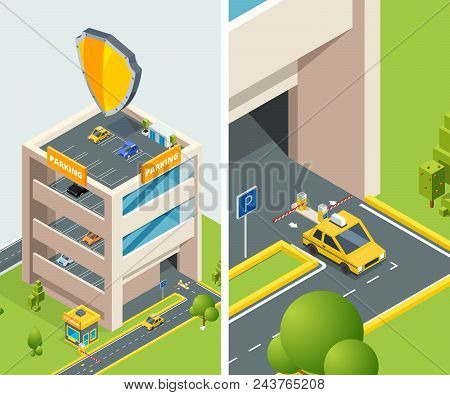 Background Isometric Illustration Of Multi Level Parking With Various Cars. Vector Building For Park
