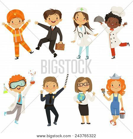 Young Kids Boys And Girls Of Different Professions. Policeman And Painter, Chemist Male Kid. Vector