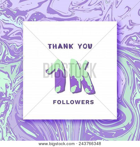 1k Followers Thank You Square Banner With Liquid Background And Frame. Template For Social Media Pos