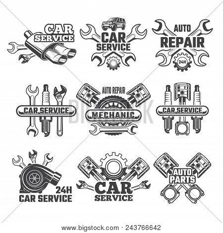 Vintage Labels Set With Illustrations Of Automobile Tools. Auto Service Or Garage Maintenance Car Ve