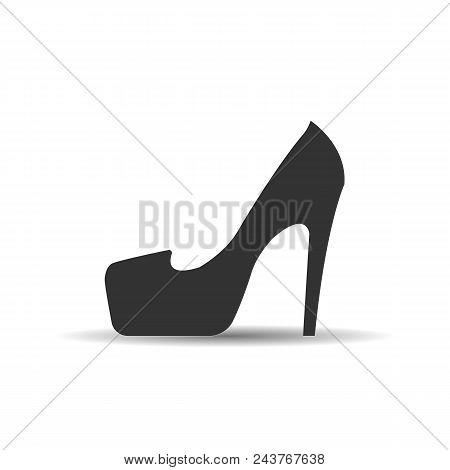 Female Shoe With High Heel. Elegant Black Slipper With Spike Heel On White Background. Vector Illust