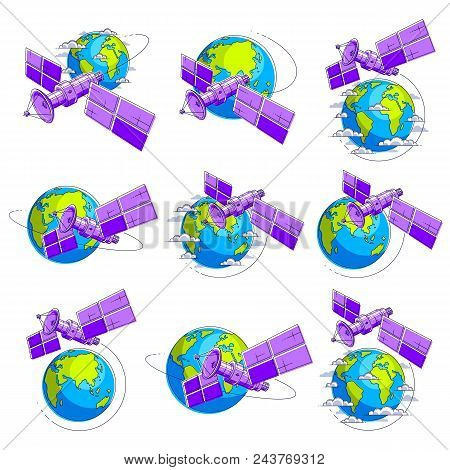 Communication Satellites Flying Orbital Spaceflight Around Earth, Spacecraft Space Station With Sola