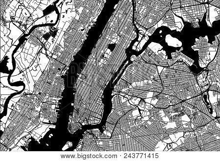 Map Of Manhattan With Parts Of The Bronx, Queens, Brooklyn And Jersey City. Very Detailled Version W