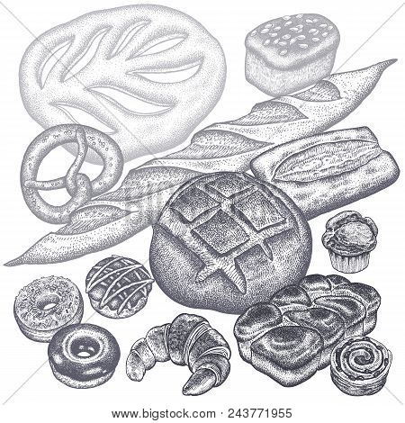 Bread Products Set - Rye Bread, Ciabatta, White Bread, Whole-grain Bread, Croissant, French Baguette