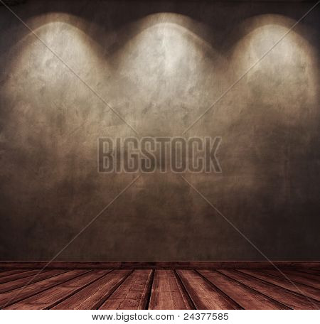 old wooden interior room with dramatic light.
