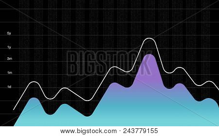 Business Data Graph Chart, Economy Diagram Vector Illustration. Performance Company Profit Economy C