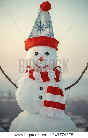 Happy Snowman. Happy Holiday And Celebration. Snowman With In Hat And Scarf New Year Snowman From Wh
