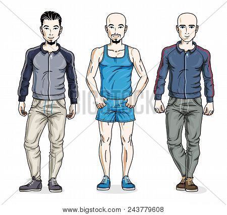 Handsome Young Men Group Standing Wearing Stylish Sport Clothes. Vector Different People Characters
