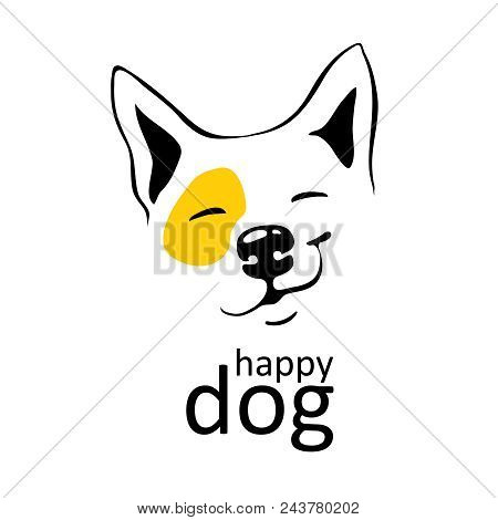 Happy Dog Logo On White Background With Yellow Accent On Left Eye Smile Smirk On His Face Thin Black