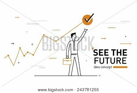 Businessman Achieves The Goal. Achievements. Performance Schedule. Vector Illustration Eps10 File. S