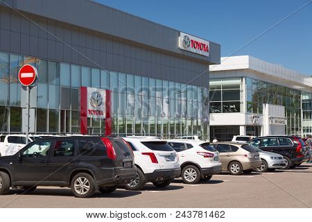 Moscow, Russia - May, 2018: Toyota Automobile Reseller With New Toyota Models In A Row Near The Entr