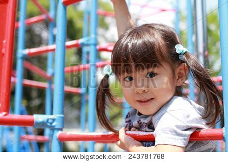 Japanese Girl On The Jungle Gym (3 Years Old)