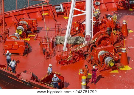 Panama City, Panama - February 20, 2015: Red Tankship Prow Detail With Crew At Work, Entering The Ca