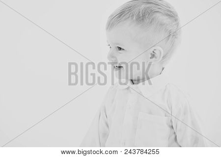 Childcare Facilities. Childhood And Happiness, Little Boy. Kid With Blonde Hair, Fashion. Child With